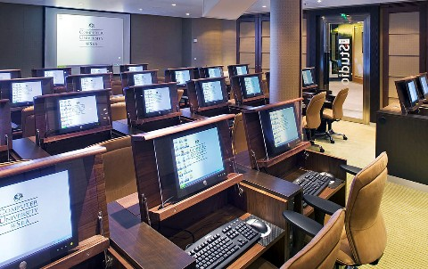 Photo of Crystal Cruises' Computer University goes here.